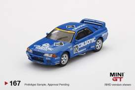 Nissan  - Skyline GT-R  R32 #12 1992 blue/white - 1:64 - Mini GT - 00167-R - MGT00167rhd | The Diecast Company