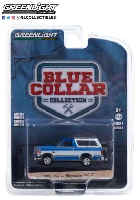 GMC  - Bronco 1992 blue/white - 1:64 - GreenLight - 35180F - gl35180F | The Diecast Company