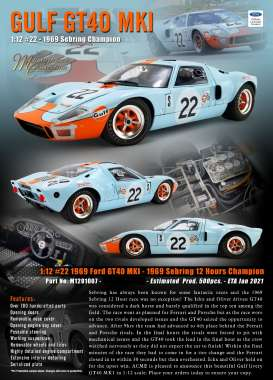 Ford  - GT40 MKI #22 1969 gulf blue/orange - 1:12 - Acme Diecast - M1201007 - acmem1201007 | The Diecast Company