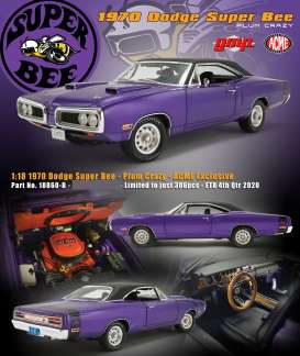 Plymouth  - Super Bee 1970 plum crazy/black - 1:18 - Acme Diecast - 18860-B - acme18860B | The Diecast Company