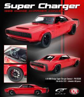 Dodge  - Super Charger 1968 red - 1:18 - Acme Diecast - US036 - GTUS036 | The Diecast Company