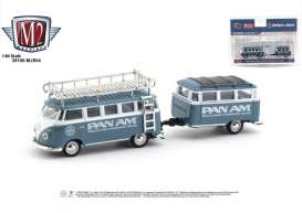 Volkswagen  - Deluxe & Trailer 1959 blue/white - 1:64 - M2 Machines - 38100MJS04 - M2-38100MJS04 | The Diecast Company