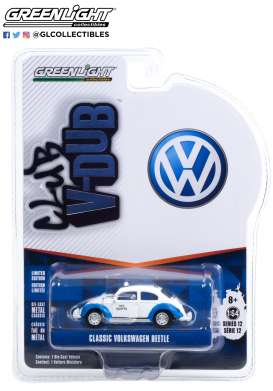 Volkswagen  - Beetle white/blue - 1:64 - GreenLight - 36020F - gl36020F | The Diecast Company