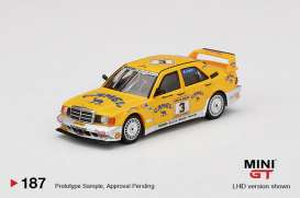 Mercedes Benz  - 190E 1990 yellow/white - 1:64 - Mini GT - 00187-L - MGT00187LHD | The Diecast Company