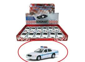 Ford  - Crown Victoria Police  white/blue - 1:36 - Kinsmart - KT5342D - KT5342D | The Diecast Company