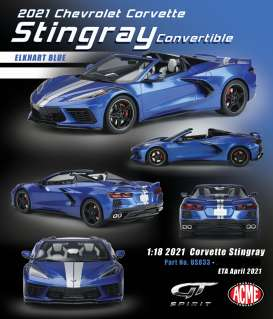 Corvette  - Stingray convertible 2020 blue/silver - 1:18 - Acme Diecast - US033 - GTUS033 | The Diecast Company