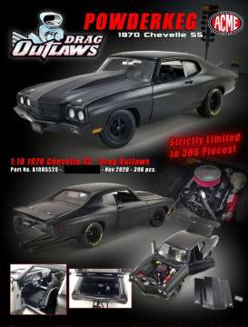 Chevrolet  - Chevelle 1970 matt black - 1:18 - Acme Diecast - 1805520 - acme1805520 | The Diecast Company