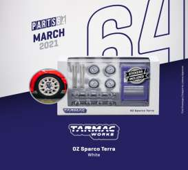 Rims & tires Wheels & tires - OZ Sparco Terra white - 1:64 - Tarmac - T64W-003WH - TC-T64W003WH | The Diecast Company