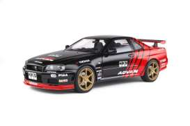Nissan  - R34 GTR red/black - 1:18 - Solido - 1804302 - soli1804302 | The Diecast Company