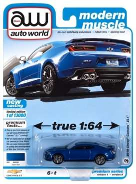 Chevrolet  - Camaro ZL1 2018 blue - 1:64 - Auto World - SP059A - AWSP059A | The Diecast Company
