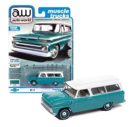 Chevrolet  - Suburan 1965 light green - 1:64 - Auto World - SP060A - AWSP060A | The Diecast Company