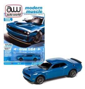 Dodge  - Challanger 2019 blue - 1:64 - Auto World - SP061B - AWSP061B | The Diecast Company