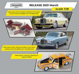 Rolls Royce  - Silver Shadow MPW 1968 caribbean blue - 1:18 - Paragon - 98209lhd - para98209lhd | The Diecast Company