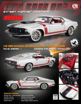 Ford  - Boss 302 Mustang 1969 white/red/black - 1:18 - Acme Diecast - 1801842 - acme1801842 | The Diecast Company