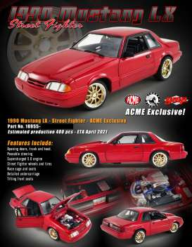 Ford  - Mustang LX Street Fighter 1990 red - 1:18 - Acme Diecast - 18955 - acme18955 | The Diecast Company