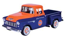 Chevrolet  - Stepside pick-up 1955 blue/orange - 1:24 - Motor Max - 79651 - mmax79651 | The Diecast Company