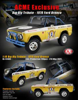 Ford  - Bronco 1972 gold/white - 1:18 - Acme Diecast - 51405 - acme51405 | The Diecast Company