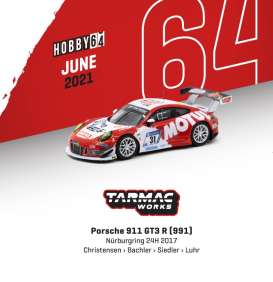Porsche  - 911 GT3 2019 red/white - 1:64 - Tarmac - T64-032-17NUR31 - TC-T64-03217NUR31 | The Diecast Company