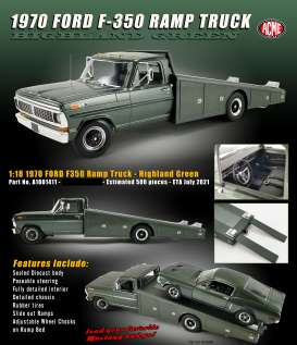 Ford  - F-350 Ramp Truck 1970 highland green - 1:18 - Acme Diecast - 1801411 - acme1801411 | The Diecast Company