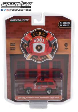 Jeep  - Cherokee 1990 red - 1:64 - GreenLight - 67010D - gl67010D | The Diecast Company