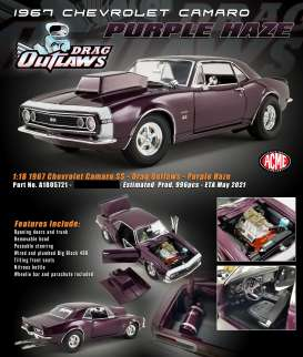 Chevrolet  - Camaro *Drag Outlaws* 1967 purple haze - 1:18 - Acme Diecast - 1805721 - acme1805721 | The Diecast Company