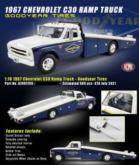 Chevrolet  - C-30 Ramp Truck 1967 white/blue/yellow - 1:18 - Acme Diecast - 1801706 - acme1801706 | The Diecast Company
