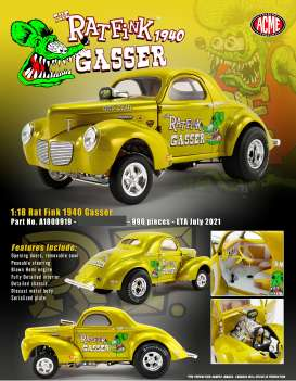 Willys  - Gasser  1940 metallic gold - 1:18 - Acme Diecast - A1800919 - acme1800919 | The Diecast Company
