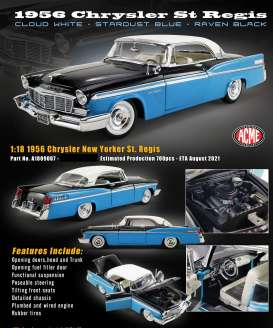 Chrysler  - New Yorker  St regis 1956 blue/white/black - 1:18 - Acme Diecast - 1809007 - acme1809007 | The Diecast Company