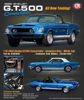 Shelby  - GT500 Convertible 1967 blue/white - 1:18 - Acme Diecast - 1801848 - acme1801848 | The Diecast Company