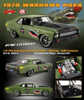 Chevrolet  - Nova *Warhawk* Street Fighter 1970 grey - 1:18 - Acme Diecast - 18957-B - acme18957B | The Diecast Company