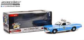 Plymouth  - Fury 1975 white/blue - 1:24 - GreenLight - 85542 - gl85542 | The Diecast Company