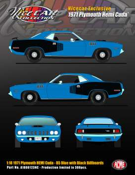 Plymouth  - Hemi Cuda 1971 blue/black - 1:18 - Acme Diecast - 1806123NC - acme1806123NC | The Diecast Company