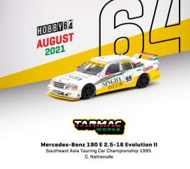 Mercedes Benz  - 190E white/yellow - 1:64 - Tarmac - T64-024-99SEA99 - TC-T64-02499SEA99 | The Diecast Company