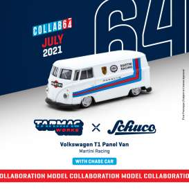 Volkswagen  - T1 Panel Van  white/blue/red - 1:64 - Tarmac - T64S-005-MAR - TC-T64S005MAR | The Diecast Company